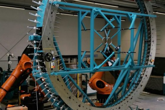 UK's largest radial braider under construction at the AMRC