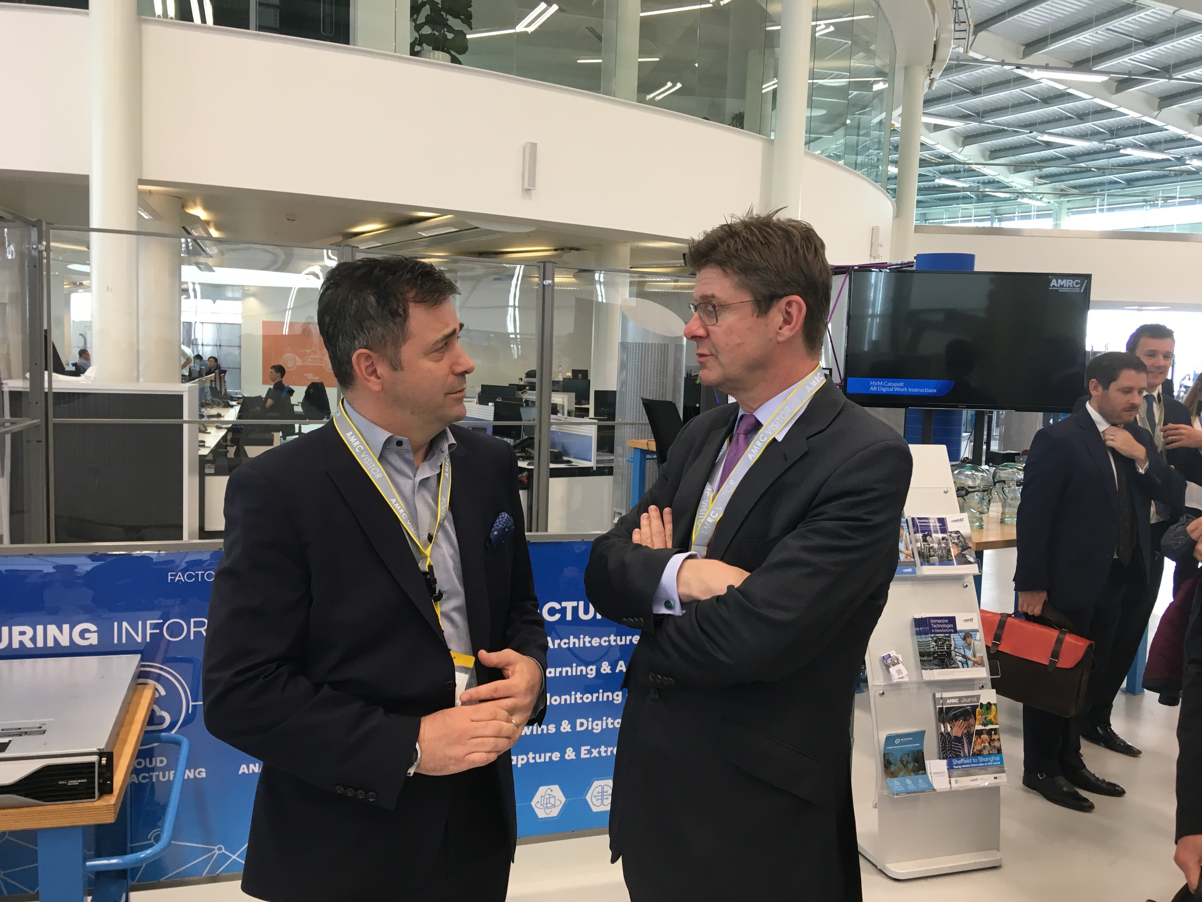 Pictured,: Secretary of State, Greg Clark, during his tour of the Smart Factory test bed