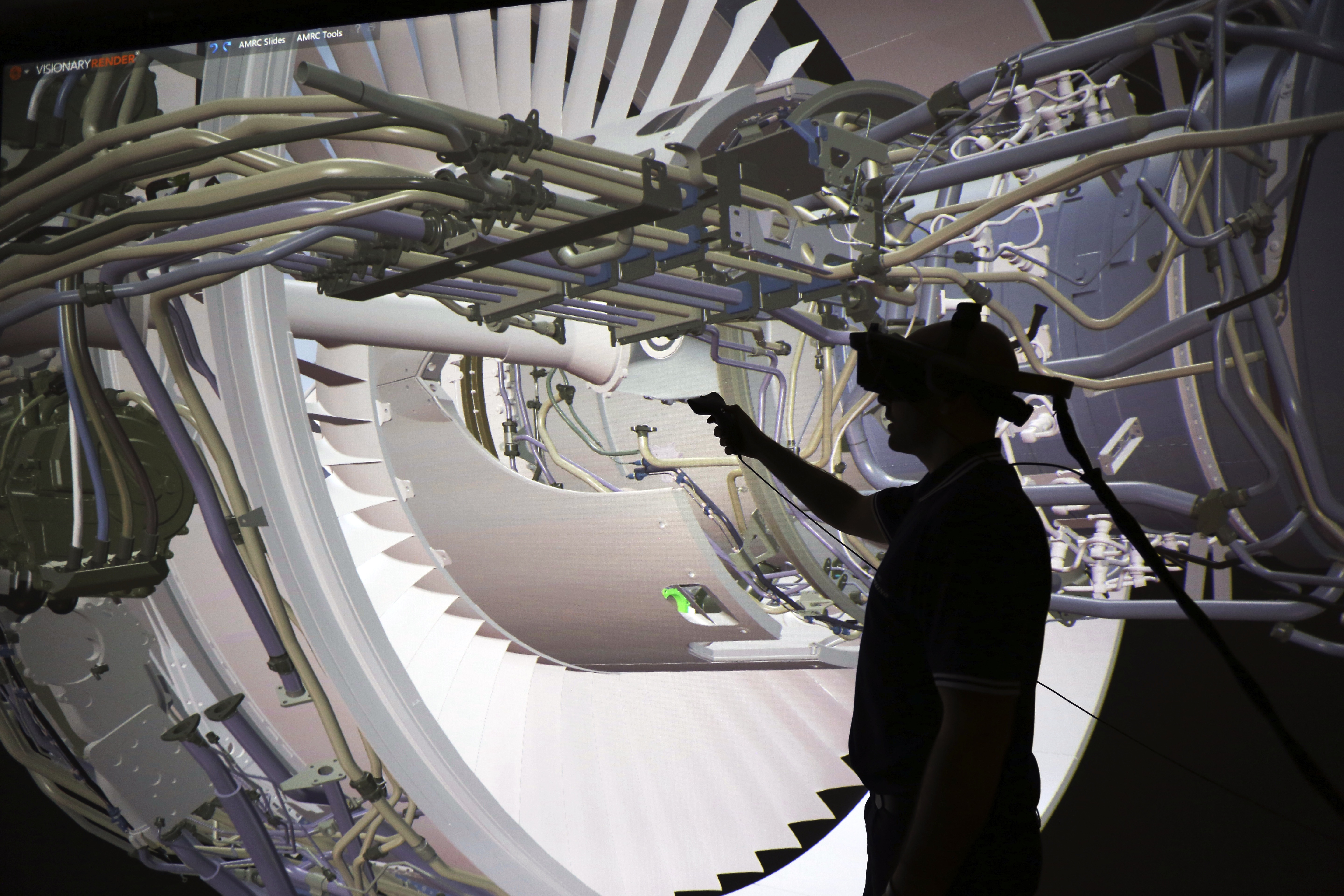 Pictured: Virtual reality in action in the Smart Factory