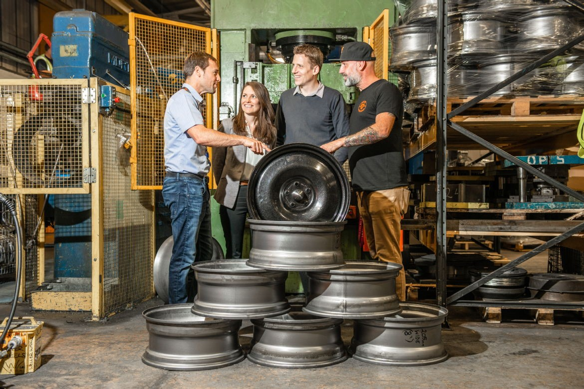 Pictured: AE Oscroft team proud of their presswork wheels