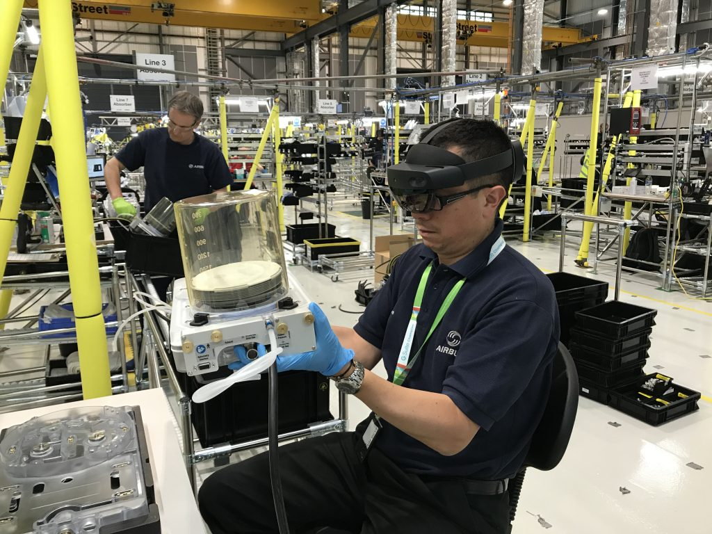 Augmented reality in action at AMRC Cymru with Airbus ventilator production line