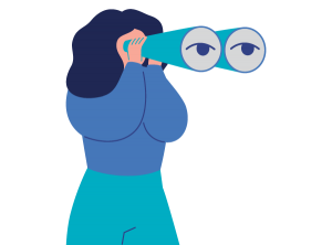 Looking ahead - woman with binoculars